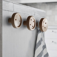 Collalily Nordic Round Wood Modern Design Wall Clothes Robe Hook Coat Racks For Corridor Hook Rails