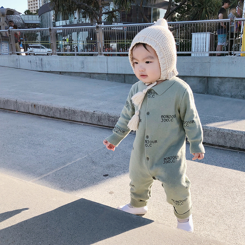 2018 Fall Winter New baby romper TC Fish Letter Knit Set Children's Knit Jumpsuit Sweater Children's clothes girls boy pants цена