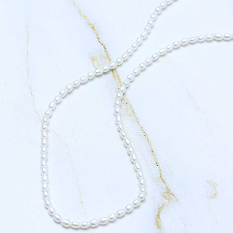 BaroqueOnly Nước Ngọt Tự Nhiên 2-4mm Gạo Ngọc Trai 45 cm/50 cm Nữ Bạc 925 Vòng Cổ Choker bộ trang sức Nữ NV