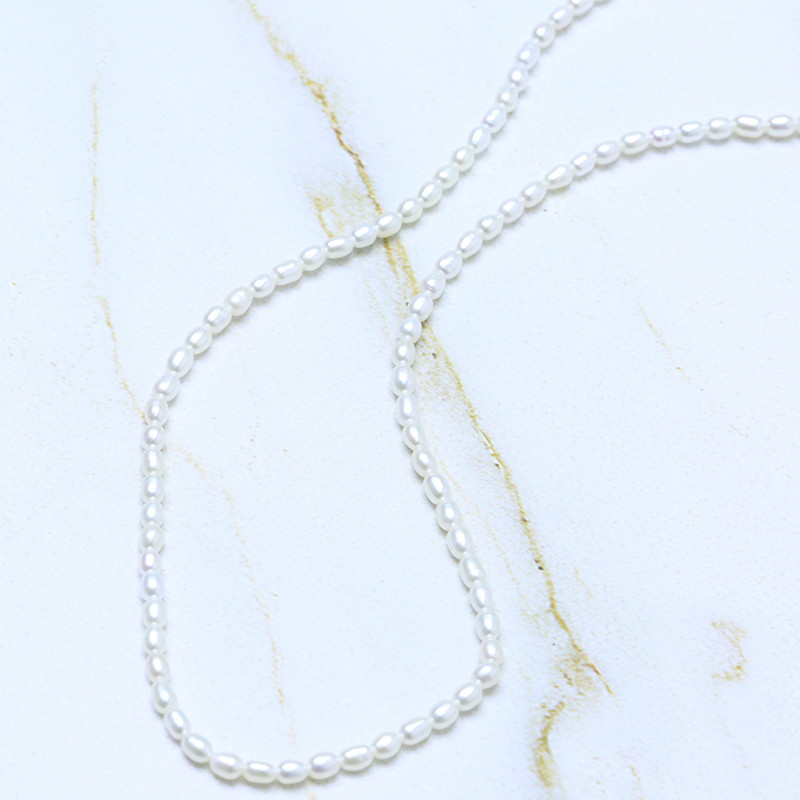 BaroqueOnly Natural Freshwater 2 4mm Rice Pearl Necklace 45cm 50cm 925 Sterling Silver Choker Necklace Jewelry BaroqueOnly Natural Freshwater 2-4mm Rice Pearl Necklace 45cm/50cm 925 Sterling Silver Choker Necklace Jewelry for Women NV