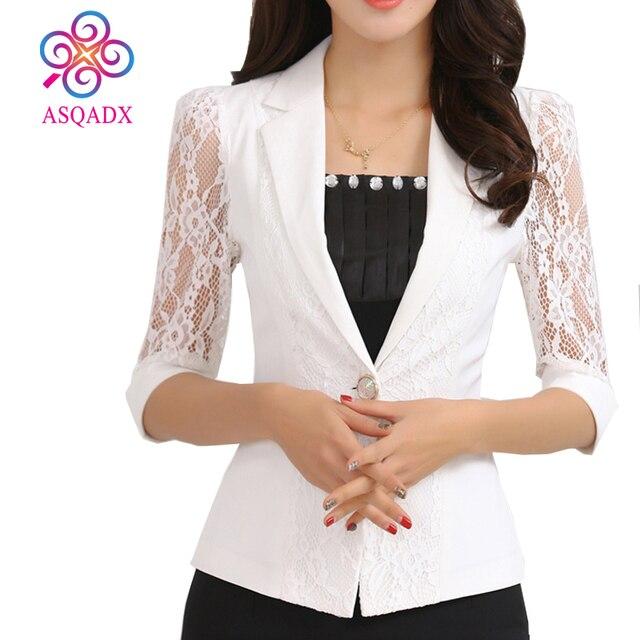 Ben noto ASQADX blazer mujer 2017 maniche di Pizzo Bianco e nero giacca  AY06