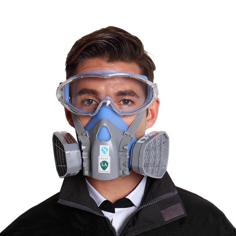 CK Tech Brand Face Gas Mask Shield Spray Paint Pesticide Dust Storms Respirator With Safety Glasses 0304 new safurance protection filter dual gas mask chemical gas anti dust paint respirator face mask with goggles workplace safety