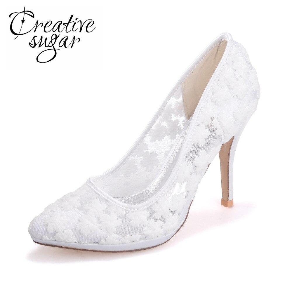 Creativesugar lady elegant pointed toe see through lace high heel bridal wedding prom party dress shoes pink black white ivory creativesugar fashion high heel pointed