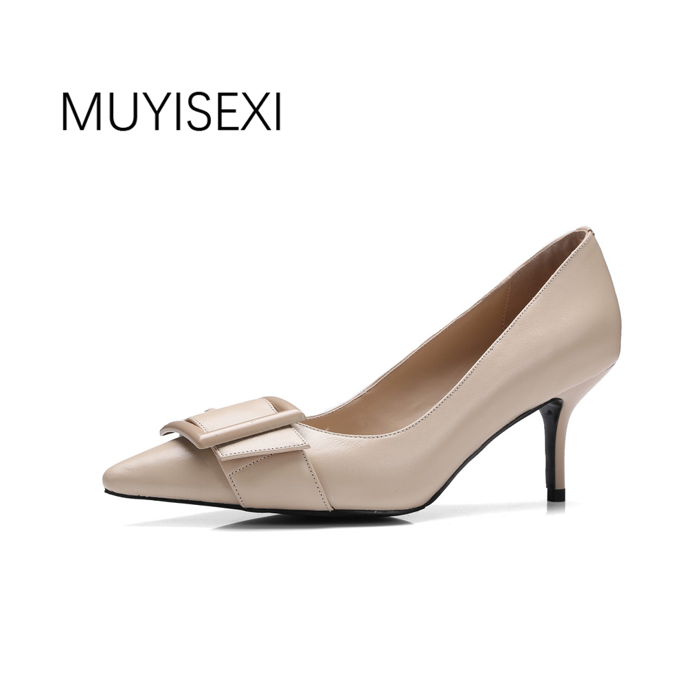 Stiletto Genuine Leather Pointed Toe Thin Heel Women Pumps Spring Shoes with Buckle Office Girls High Heels Shoes DMJ03 MUYISEXI bigtree spring summer women pumps sweet bow knot high heeled shoes thin pink high heel shoes hollow pointed stiletto elegant 22