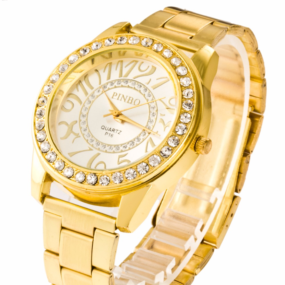 PINBO Famous Brand Quartz Watch Gold Casual Women Crystal Stainless Steel Dress Watches Relogio Feminino 2017 New Wrist watch 2017 new famous brand gold casual geneva quartz watch women mesh stainless steel xfcs men watches relogio feminino clock