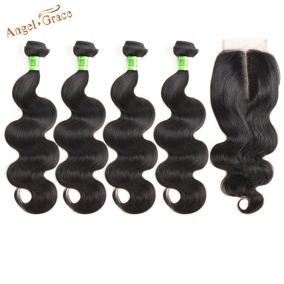 Angel Grace Hair Brazilian Body Wave Human Hair Weave 4 Bundles With Closure Remy Hair Extensions 4x4 Middle Part Lace Closure