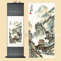 Chinese Silk watercolor Great Wall Mountain Landscape Feng Shui print canvas art wall picture damask framed scroll painting gift