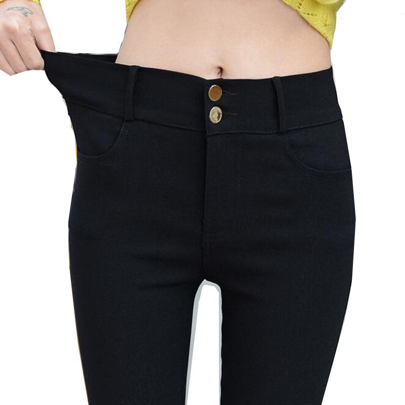 2019 moe-naised õhukesed elastsed pliiatsid püksid / proua kõrgekvaliteedilised musta õhukese jalaga püksid / naiste elastne vöökoht Casual püksid