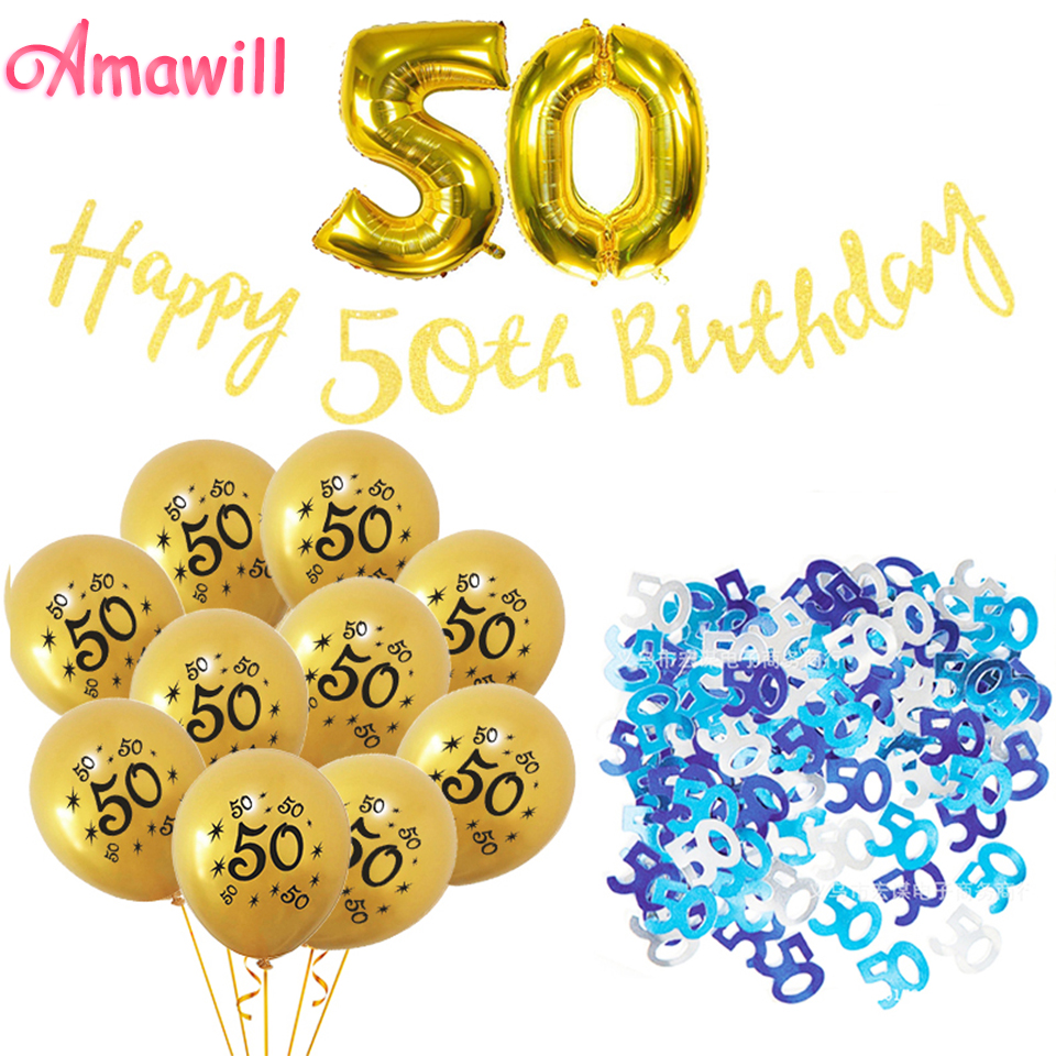 Amawill Happy 50th Birthday Letter Banner Table Confetti