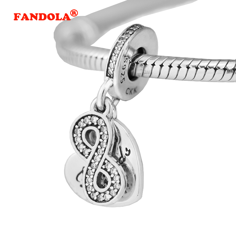af3fa1b2141624 Fits Pandora Charms Bracelet Forever Friends Pendant with Clear CZ 100% 925  Sterling Silver DIY Beads for Jewelry Making CK407-in Beads from Jewelry ...