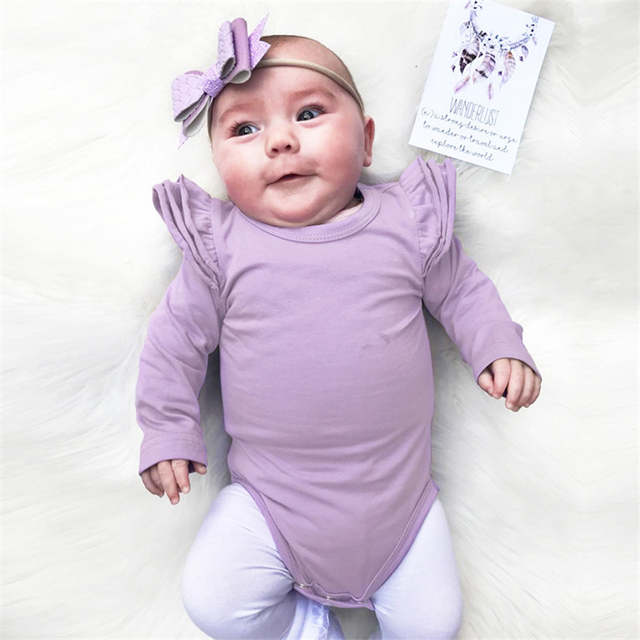 13af42a9c283 placeholder Burgundy Baby Bodysuit Newborn Puff Long Sleeve Jumpsuit Baby  Girls Ruffle Onesie Infant Clothing Baby Girl