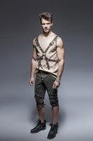 Steam Punk Для мужчин шорты летом рок заклепками Короткие штаны Хлопок Повседневное серые штаны