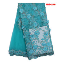 Powder Blue High Quality African Tulle Lace Fabric Floral Pattern 5yards Pcs African French Lace Dec