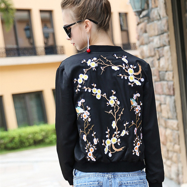 b50f6673c US $66.99 |Women New Plum Blossom Floral Birds Embroidered Bomber Jacket  Chinese Style Overszied High Quality Autumn Winter Cardigan Coat-in Basic  ...