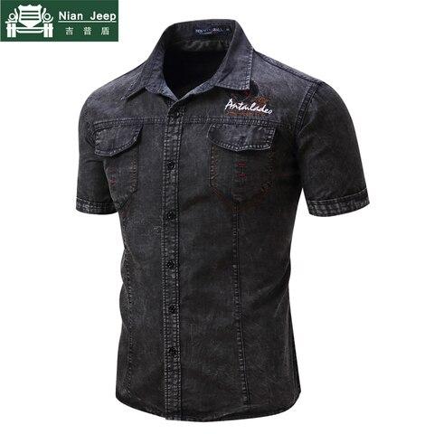 2018 Fashion Brand New Denim Shirt Men Short Sleeve Mens Shirts Military Style Male High Quality Streetwear Shirts Size S-2XL Lahore