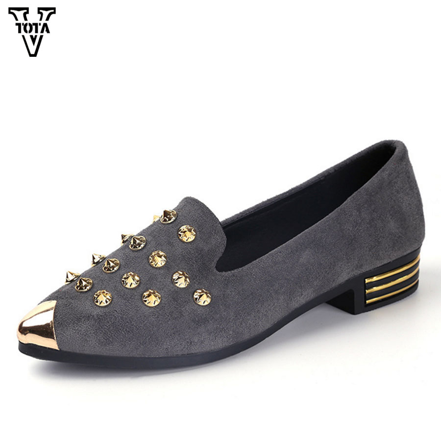 VTOTA New Women Shoes Flats Rivet Female Shoes Low Heel Spring Autumn Women Lady Pointed Toe Casual Shoes Zapatos Mujer QYXC 2017 womens spring shoes casual flock pointed toe narrow band string bead ballet flats flat shoes cover heel women flats shoes