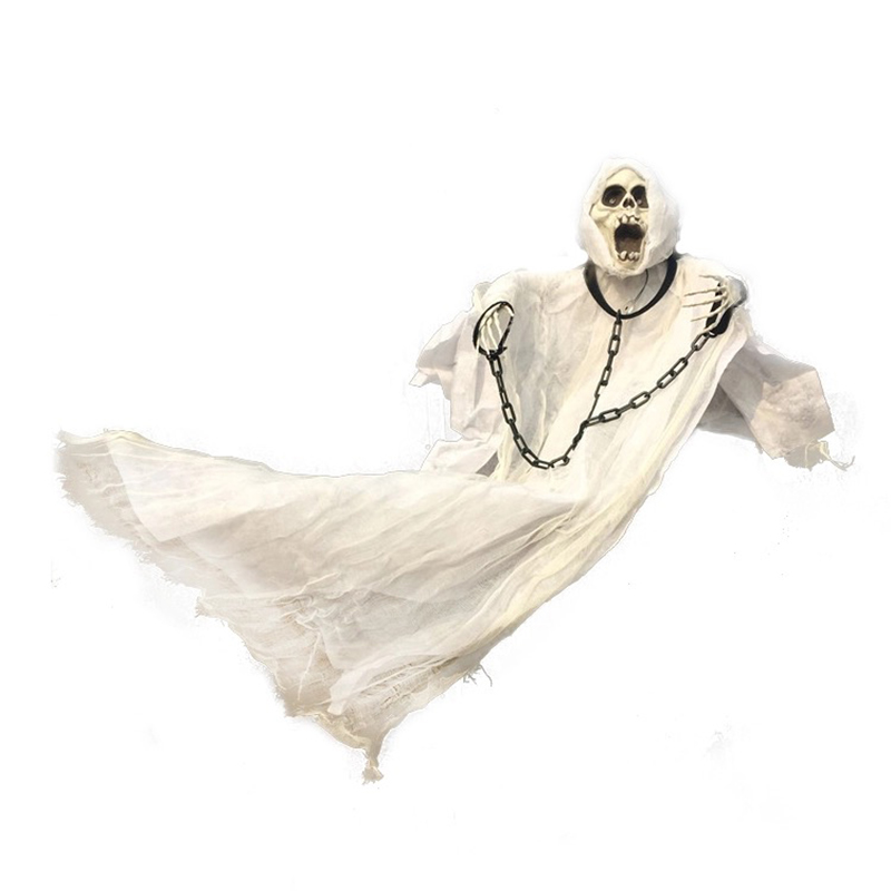 white hanging ghost with chain light up eyes sound and sensor for halloween decorations - Free Halloween Sounds Mp3