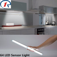 ZjRight 64 Led Lamp USB Rechargeable battery PIR sensor cabinet Auto Motion Kitchen bedroom Wardrobe indoor Stair wall lights