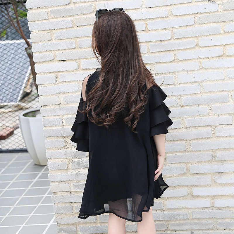 4d7db14a3228f Girls Dresses 2018 Summer Princess Dress for Toddler Girl Teen Girls  Sequins Flare Sleeve Mesh Black Dress Birthday Kid Dress 10