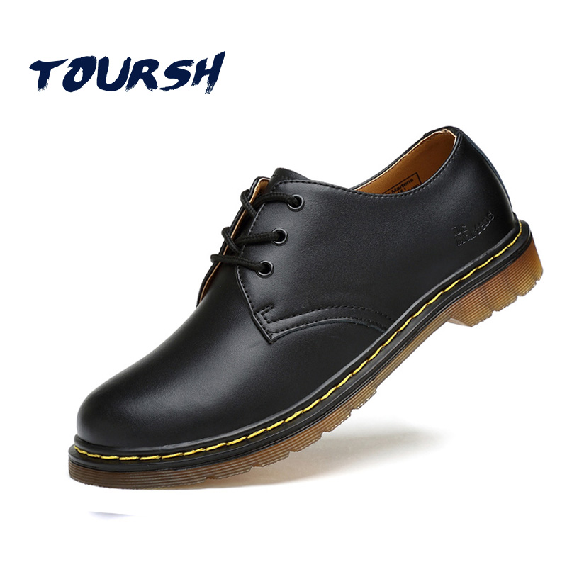TOURSH Luxury Genuine Leather Men Shoes Brogue Lace Up Platform Fashion Man Flats Casual Male Shoes Black Brown Red Plus Size 44