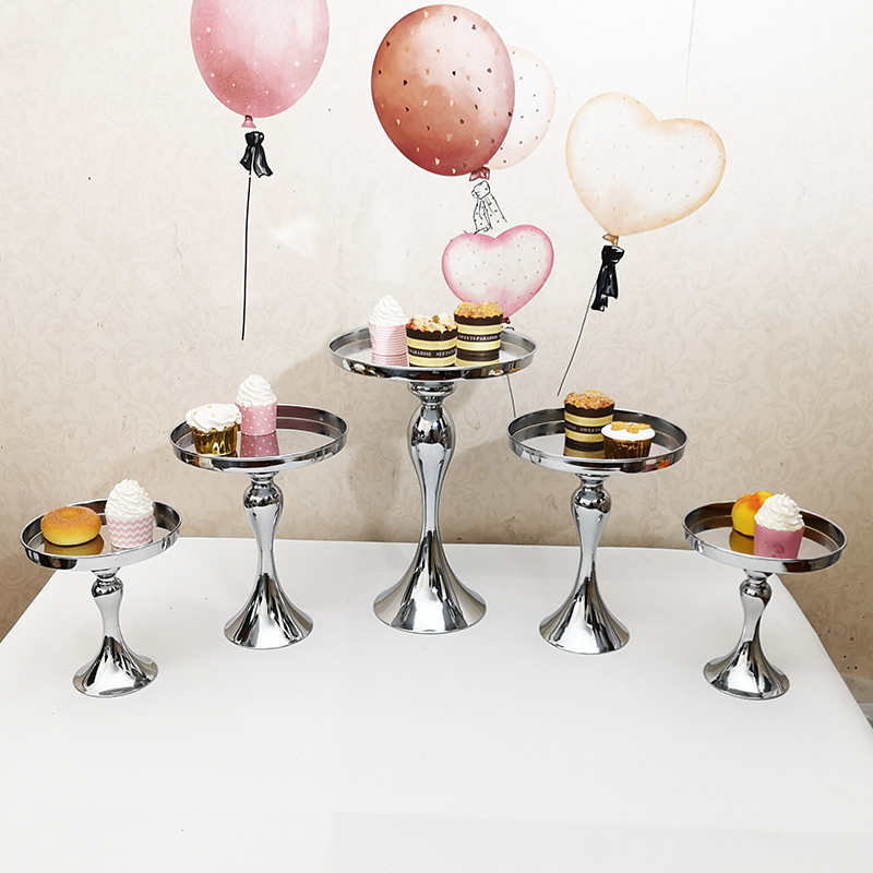 1pcs 10pcs silver & gold & rose gold cake stand mirror set crystal wedding party dessert cake table decoration cake tools-in Stands from Home & Garden    1