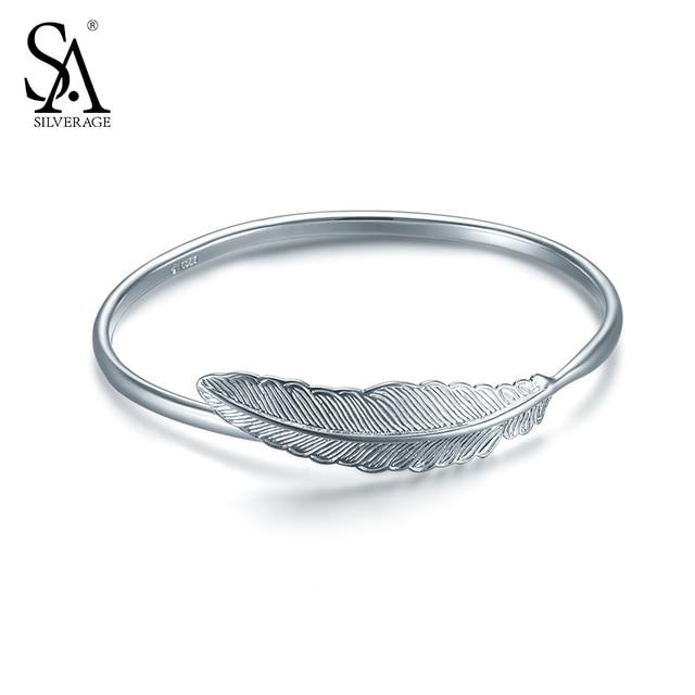 SILVERAGE Настоящее Стерлингового Серебра 925 Браслет Перо Изменяемого Размера Женщины 2017 Новые Ювелирные Изделия