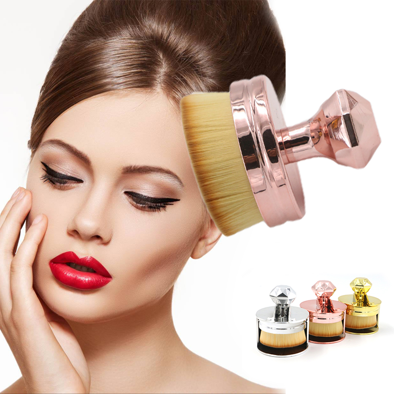 Round Seal Shape Cosmetic Brush Facial Foundation Powder Blusher 3 Colors