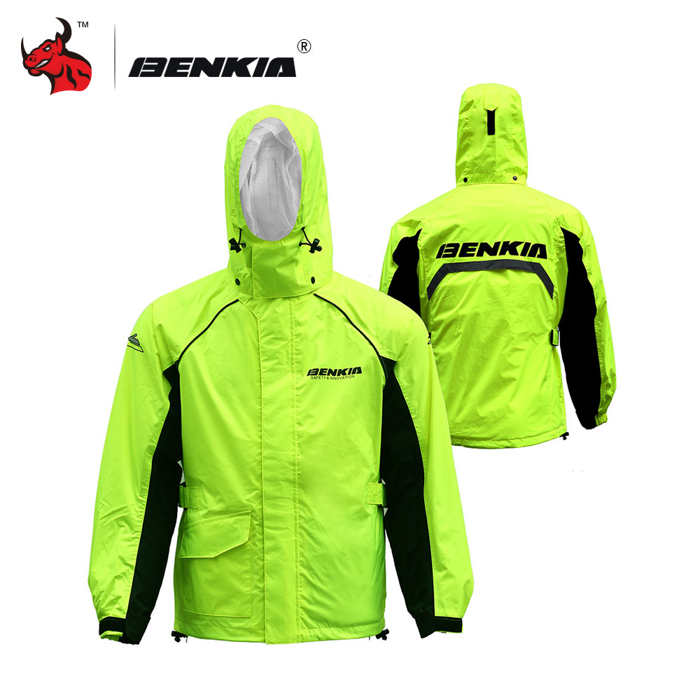BENKIA Motorcycle Rain Coat Hooded Raincoat Two-piece Raincoat Suit Riding Rain Gear Motorcycle Bicycle Rain Jacket And Pants  benkia two piece raincoat women men suit rain coat pants motorcycle rain gear riding jackets jaqueta motoqueiro