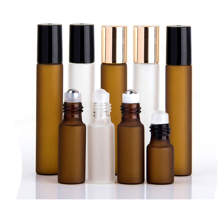 5 X 3ml 5ml 10ml Frost Clear Amber Roll On Roller Bottle For Essential Oils Refillable Perfume Bottle Deodorant Containers