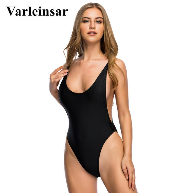Bather 2019 S - 2XL Sexy black high cut one piece swimsuit plus size  Swimwear female Bathing suit swim wear monokini V113B f4e3c2308638