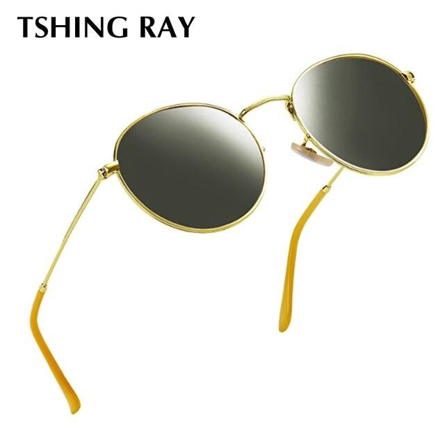 TSHING RAY Pequeno Rodada Do Vintage Óculos De Sol Das Mulheres Dos Homens  Clássico Marca Designer de Metal Moldura de Espelho Óculos de Sol Feminino  Oculos ... 9c2ae0f372