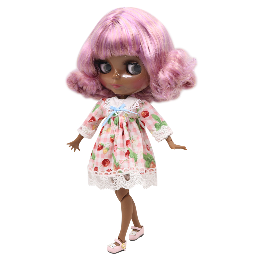 Blyth nude doll SUPER BLACK Darkest skin tone 30cm Pink mixed color short curly hair JOINT