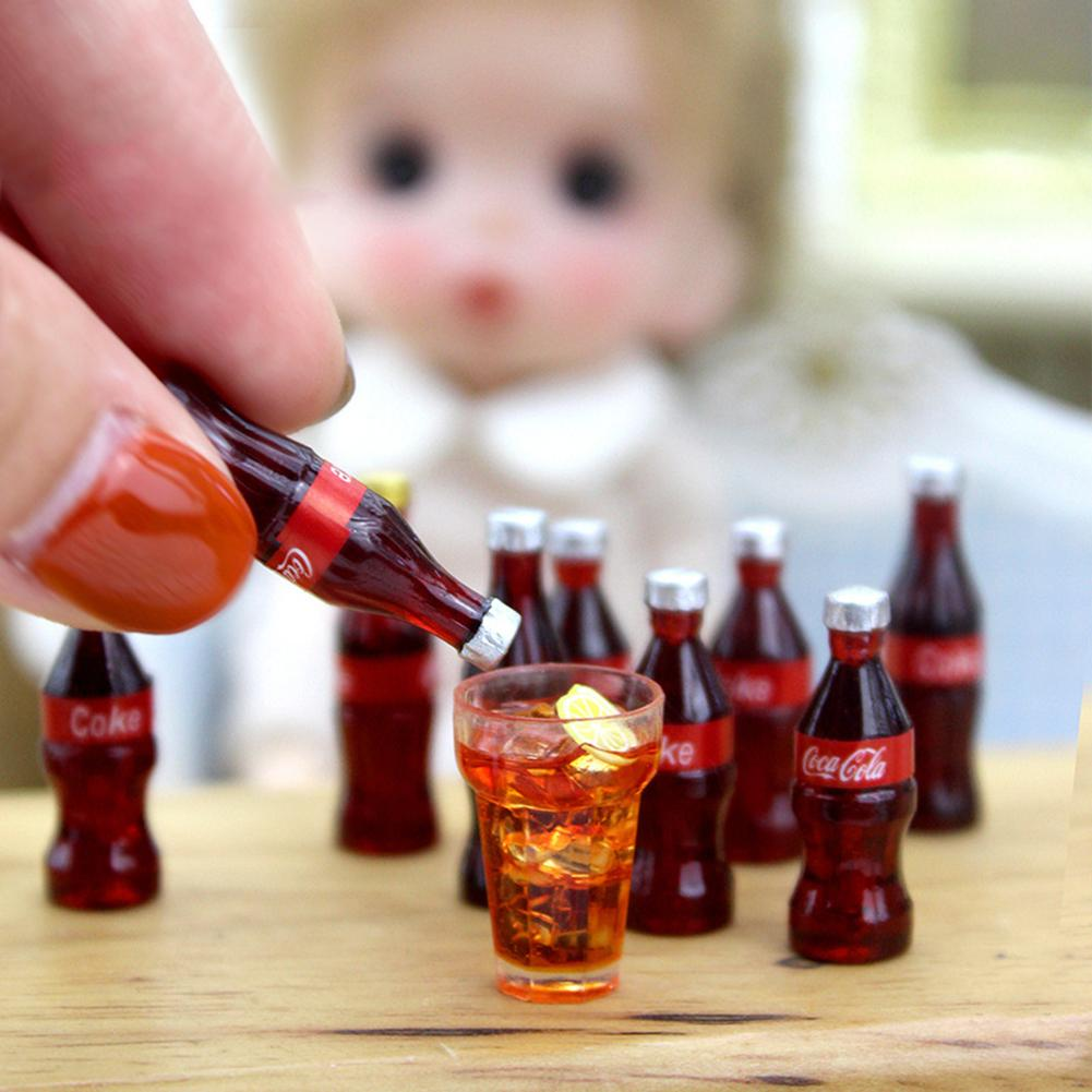 12Pcs Mini Cola Bottles With Case Doll House Accessories Kids Pretend Play Toy Miniatures Food Toy For Girl Birthday Gift