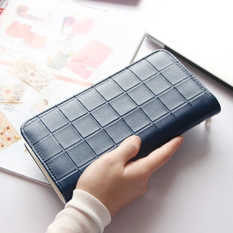 2018 New brand Women Plaid Purses female PU Leather long Zipper Wallets Cards Holder For Girls fashion lady Women clutch Wallet new brand colors purse plaid leather zipper wallet cards holder wallet for girls women wallet
