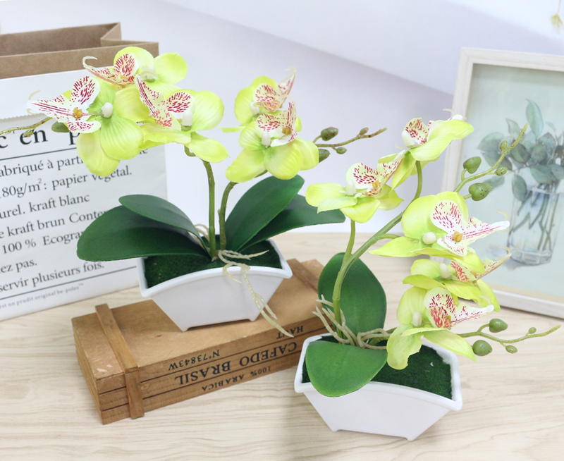 small artificial butterfly orchid flower set with real touch leaves artificial plants overall floral for wedding (3)