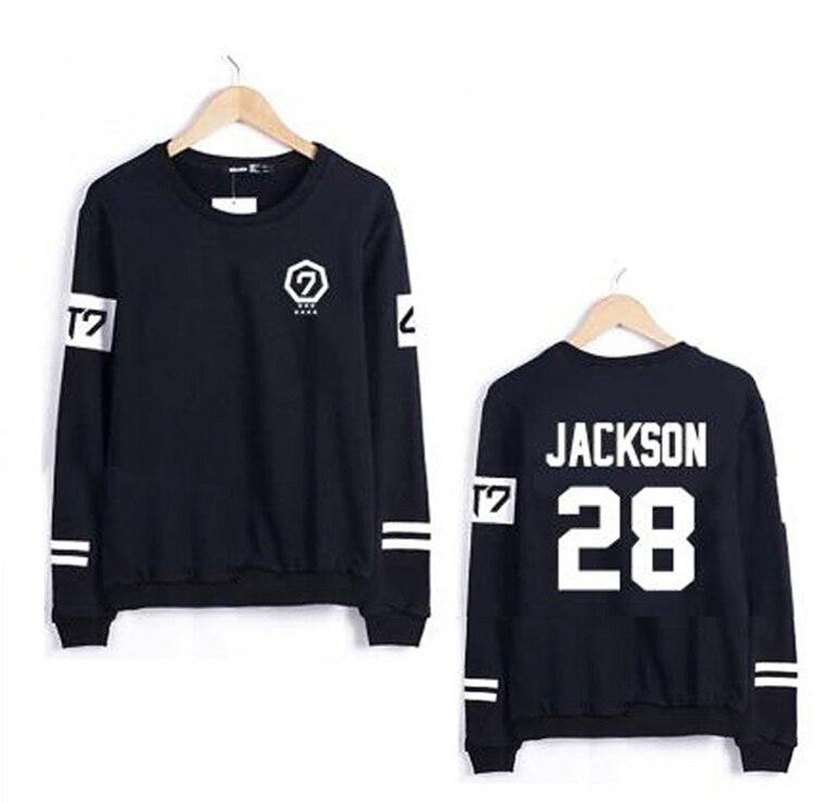 2016 Fall Spring got7 album Print Sweatshirt Casual Unisex kpop k-pop Black White Long Sleeve Hooded Men Korean costumes