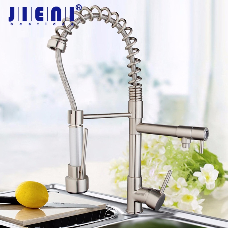 New and On Sale Nickel Brushed Double Water Spout Pull Out Kitchen Sink Mixer Tap Faucet free shipping brand new kitchen sink faucet tap pure water filter mixer double handles double spout chrome kitchen mixer taps