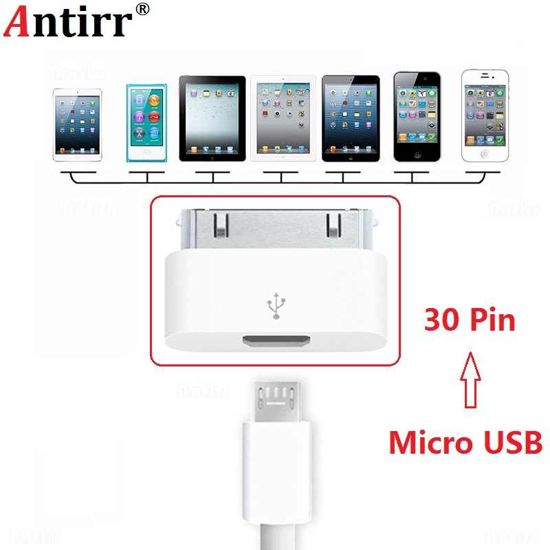 Female Micro USB to Male 30-pin Connector For Apple iPhone 4 4S iPhone4S Charging Cable Adapter Ultra Small White Accessories