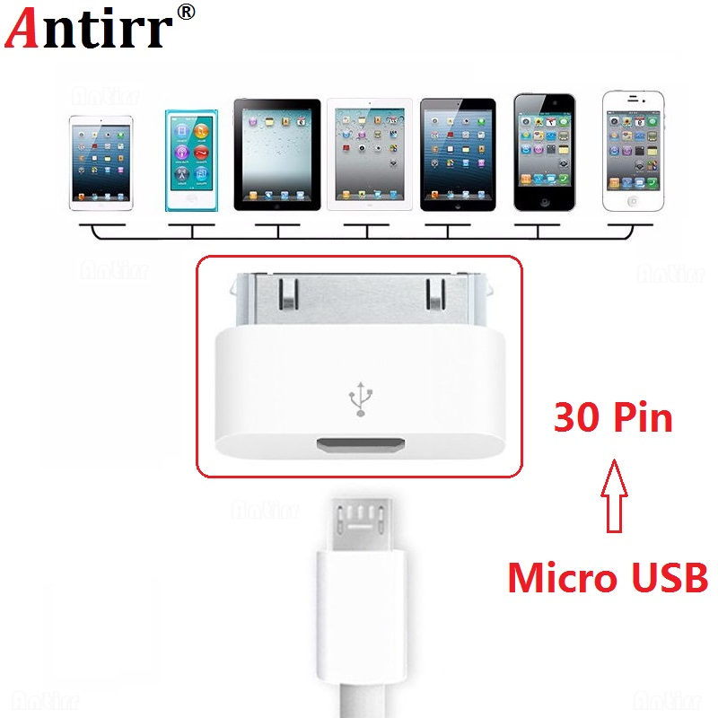 Female Micro USB to Male 30-pin <font><b>Connector</b></font> For Apple <font><b>iPhone</b></font> <font><b>4</b></font> 4S iPhone4S Charging Cable Adapter Ultra Small White Accessories image