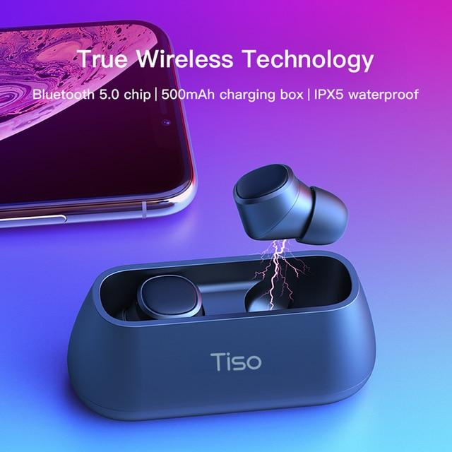 Tiso i4 Bluetooth 5.0 earphones TWS true wireless stereo 3D headphone sports IPX5 waterproof headset with dual microphone 1