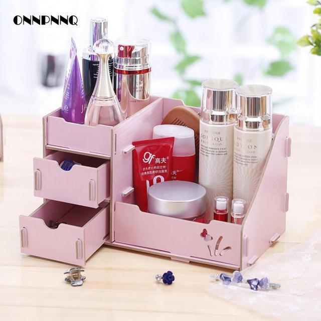1pcs Desk Top Pumping Wood Cosmetic Storage Box Dressing Table Box For  Cosmetics Jewelery Box Casket