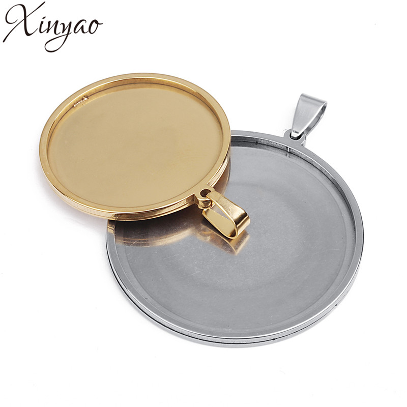 XINYAO 5pcs 20/25/30/35/40mm Gold Silver Color Stainless Steel Round Necklace Pendant Tray Cabochon Base Setting for DIY Jewelry mibrow 10pcs lot stainless steel 8 10 12 14 16 18 20mm blank french lever earring tray cabochon setting cameo base jewelry