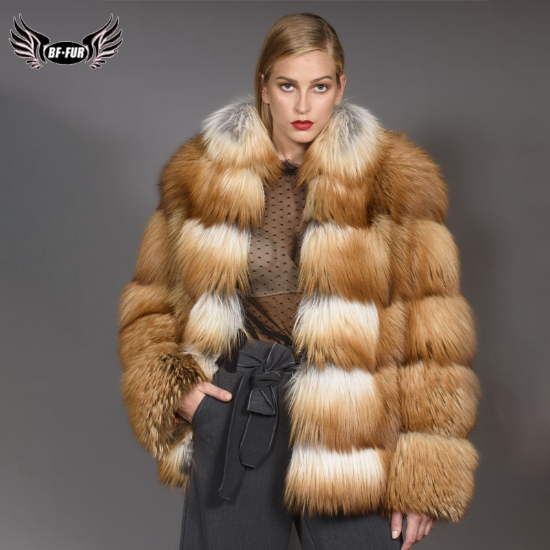 2019 BFFUR Women's Real Red Fox Fur Coats Luxurious Female Real Fur Jacket Fashion Striped Winter Warm FurOutfit Park With Fur
