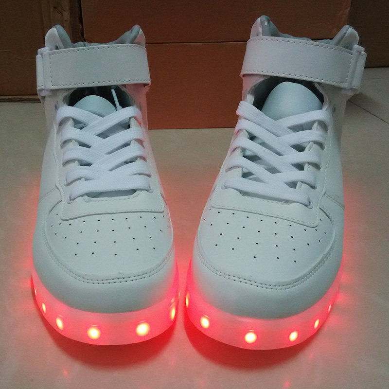 Men Women 11 Colors High top LED Shoes for Adults White Black Glowing Light  Up Shoes Flat LED Luminous Shoes chaussure lumineuse-in Men s Casual Shoes  from ... 37664261d6