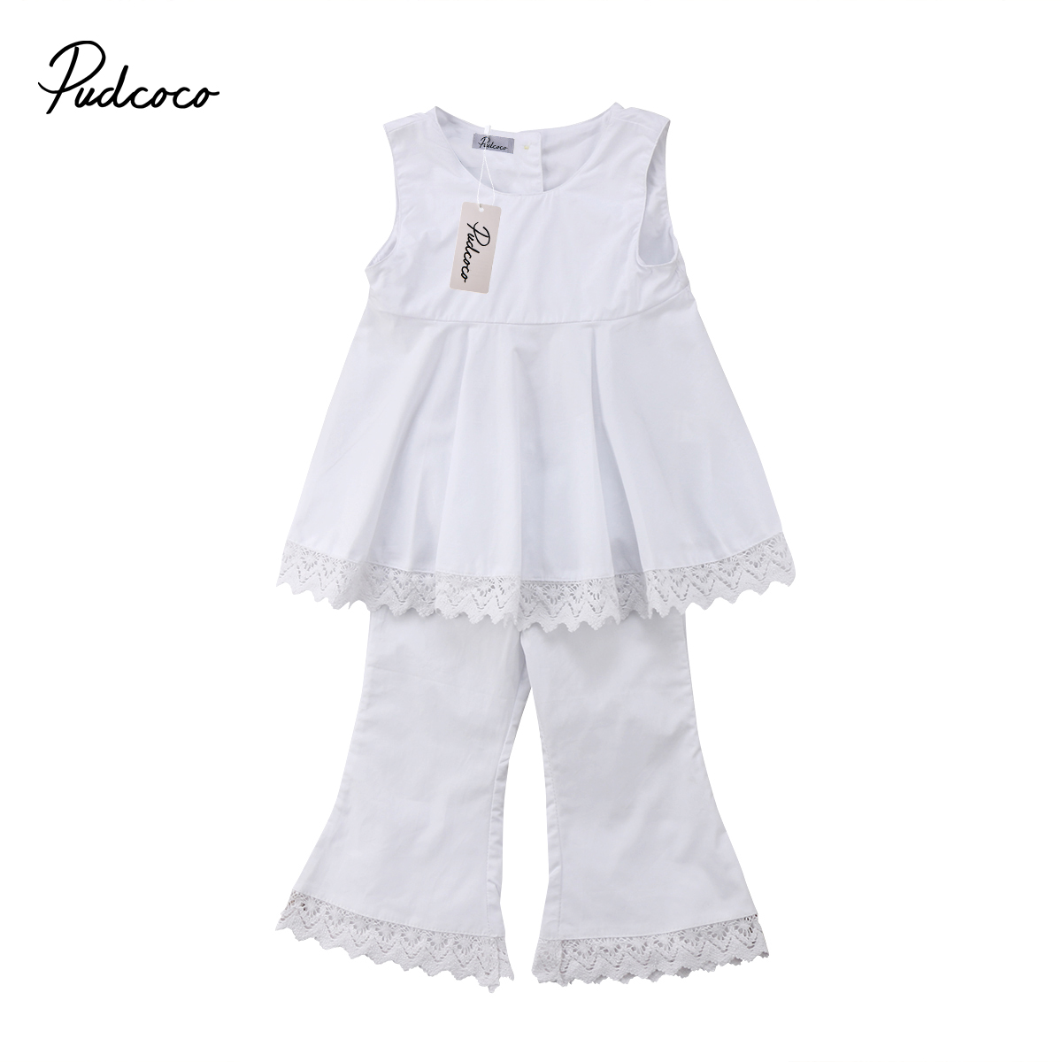 Summer Toddler Kids Baby Girls Clothing Set T-Shirts Vest Tops Blouse Flare Long Pants Outfits 2pcs