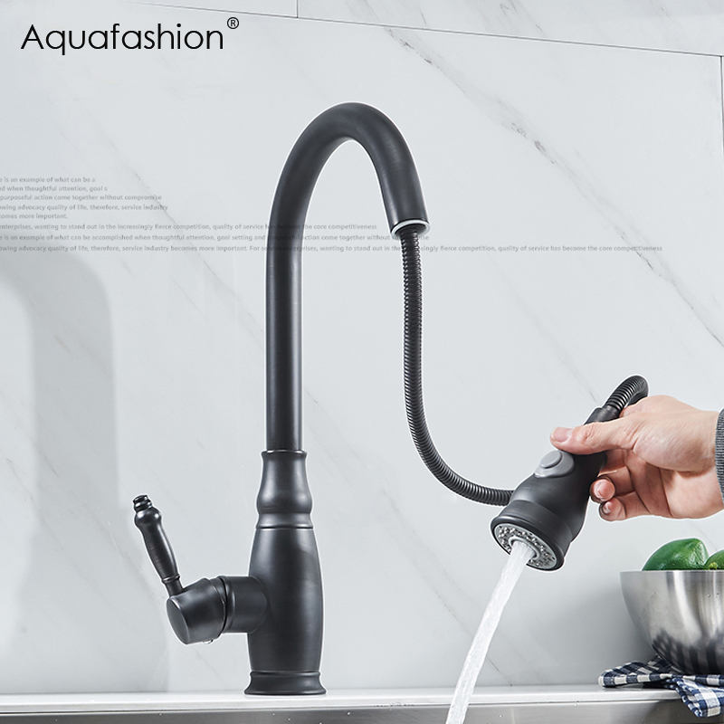 Black Kitchen Faucets Pull Out Kitchen Tap Robinet Cuisine Brass Hot And Cold Antique Kitchen Mixer ASW-1181KP