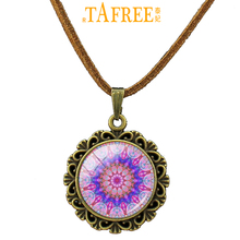 TAFREE 2017 New Henna Flower Necklace Buddhism geometry Mandala Pendant leather a great gift for mother women Jewelry A426