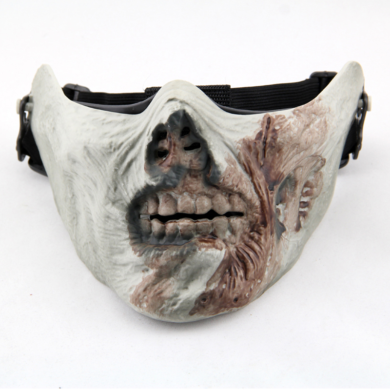 M05 Zombie Skull Scary Tactical Half Face Cool Airsoft Protective Mask Military Paintball Wargame Halloween Party Cosplay