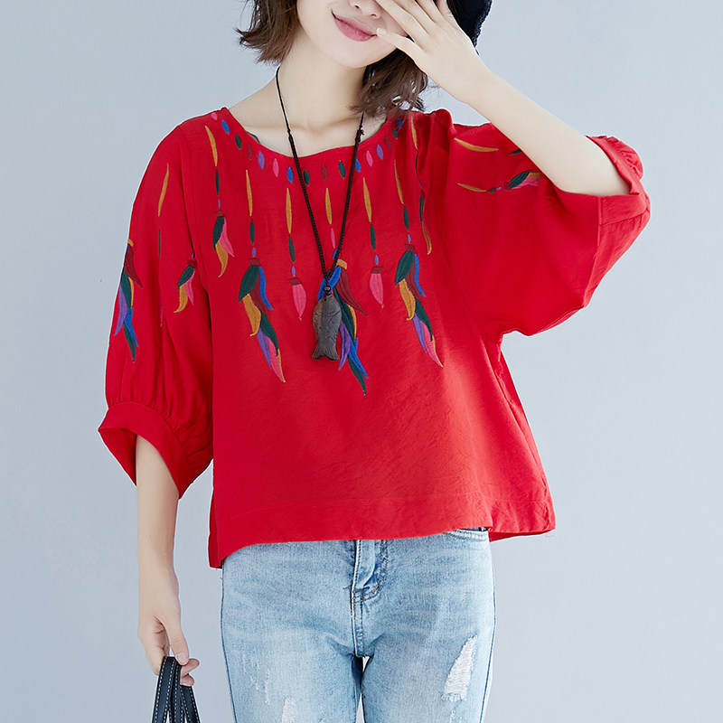 Round Collar Women Cotton Blouse Summer Tops Ladies Ethnic Casual Seven Lantern Sleeve Feather Embroidery Linen Shirts Plus Size