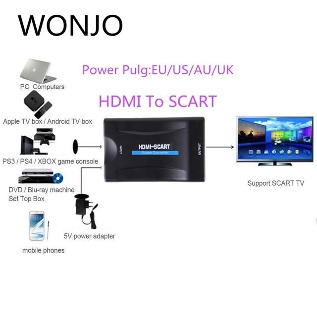 Convertidor HDMI a SCART compuesto Audio Video PAL HDCP Blu Ray DVD STB SKY con soporte de fuente de alimentación 1080P